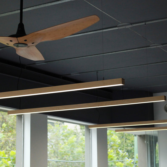 Black Maple Kurtz Hanging Linear Light Install