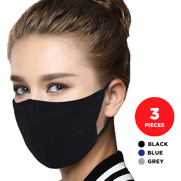 Quantum 2-Ply Cotton Reusable Face Mask (Set of 3 Masks) | Ships Within 24 Hours【Buy 4 Set Free Shipping】