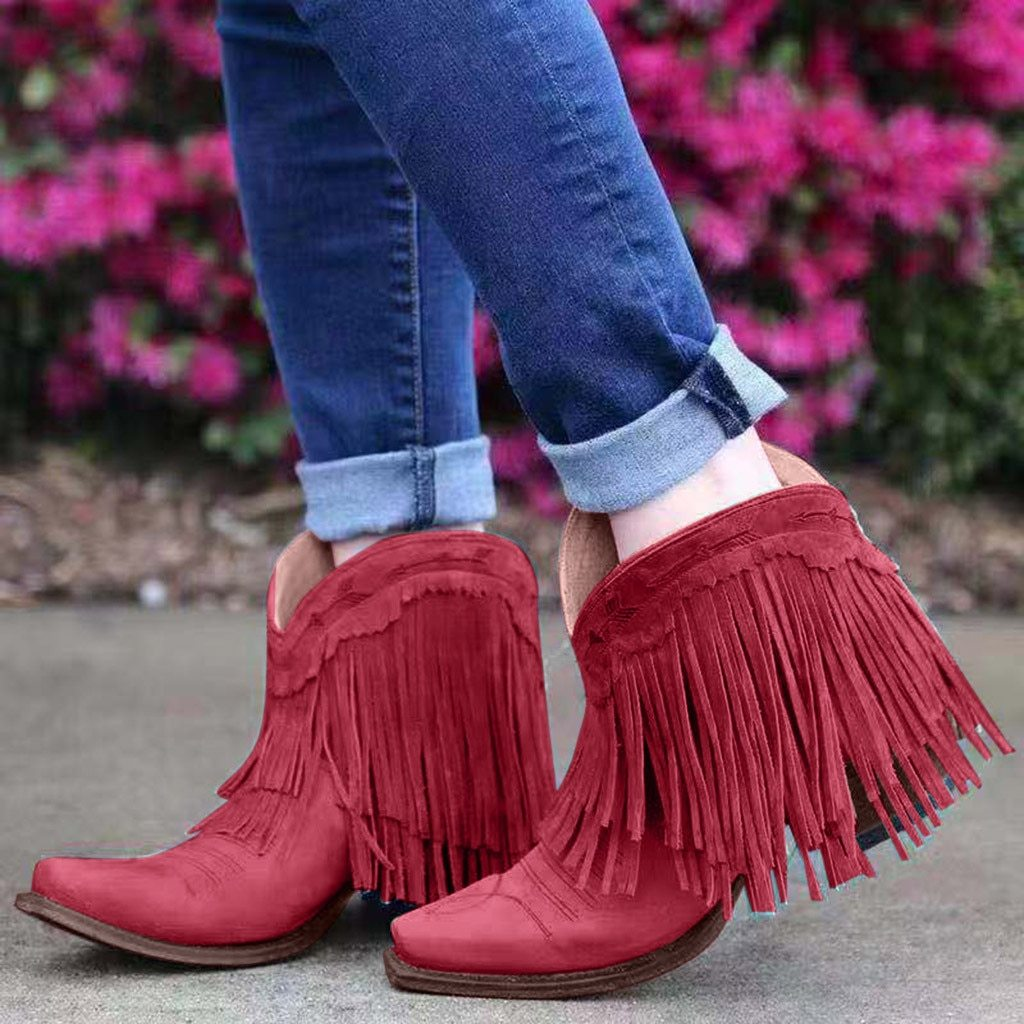 Women Flat Round-Toe Scrub Casual Shoe Low-heeled Non-slip Tassel Ankle Booties