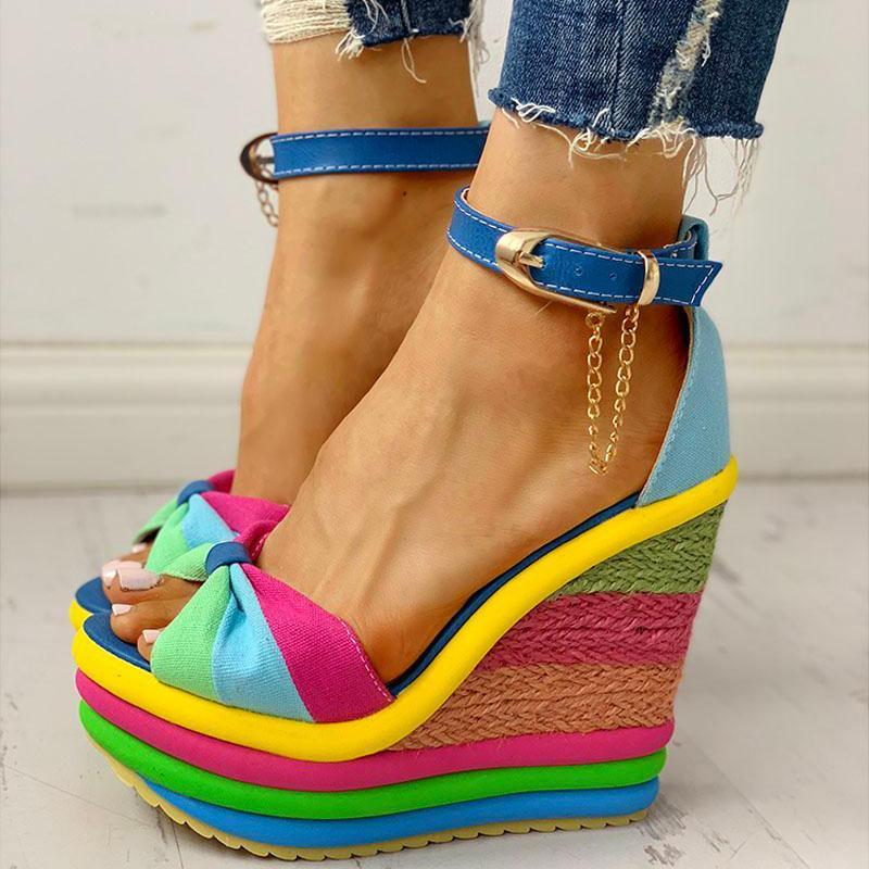 Elegant Colorful Rainbow Muffin Wedge Sandals