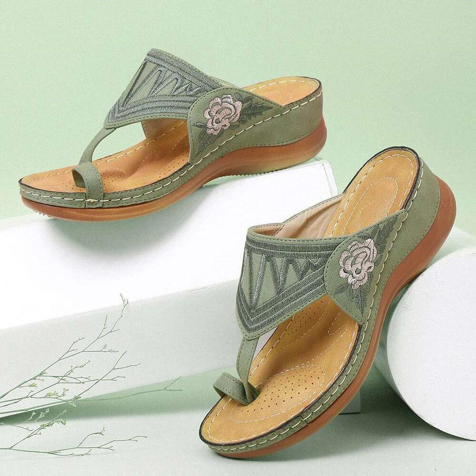$19.99 LAST 2 DAYS!! EMBROIDERY COMFY WEDGES SANDALS