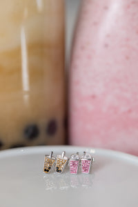 Boba Earrings, Crystal Boba Earrings, Strawberry Milkshake Crystal Earrings, Strawberry Milkshake Earrings, Gift Ideas for Little Girls, Girl Gift Ideas, Boba and Strawberry milkshake, Dessert