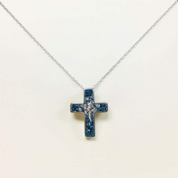 Aquamarine Crystal Cross Silver Necklace | Annie and Sisters