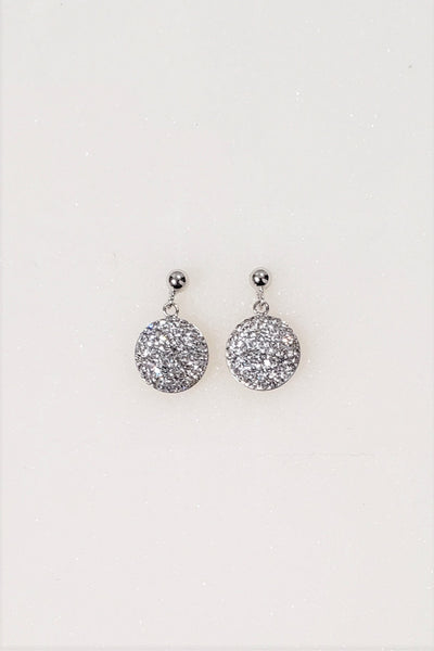 Mini Dangling 9mm Round Crystal Silver Earrings | Annie and Sisters