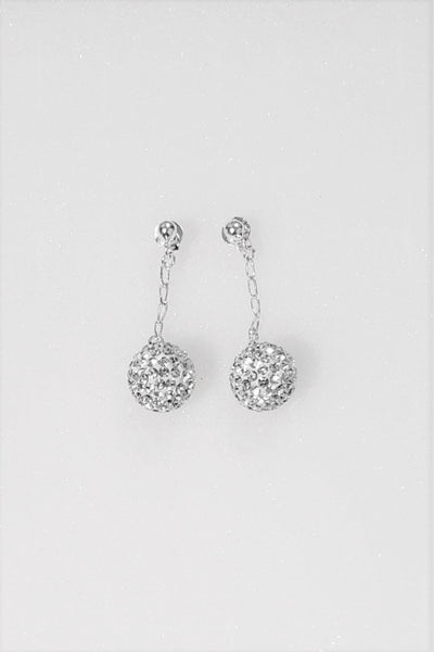 Dangling 10mm Disco Ball Crystal Silver Earrings | Annie and Sisters