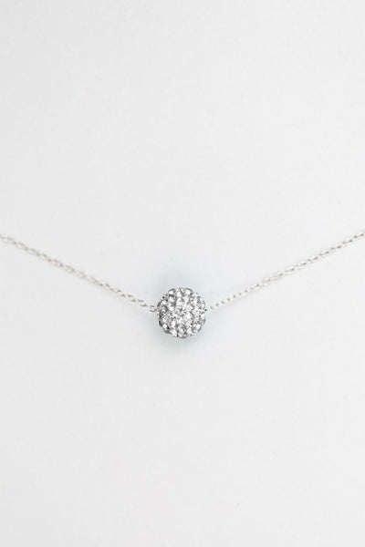 10mm Disco Ball Crystal Sterling Silver Necklace in Clear | Annie and Sisters