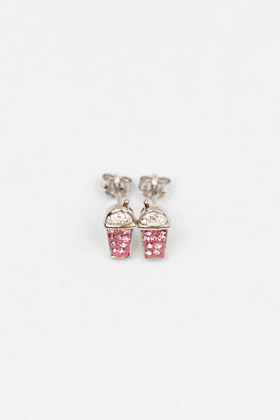 Strawberry Milkshake Crystal Silver Stud Earrings in Rose Pink | Annie and Sisters