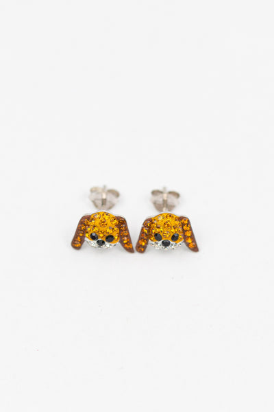 Doggie Crystal Silver Stud Earrings | Annie and Sisters