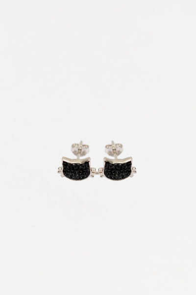 Black Cat Kitty Cat Crystal Silver Stud Earrings | Annie and Sisters