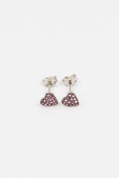 Teeny Tiny Heart Crystal Silver Stud Earrings in Amethyst | Annie and Sisters