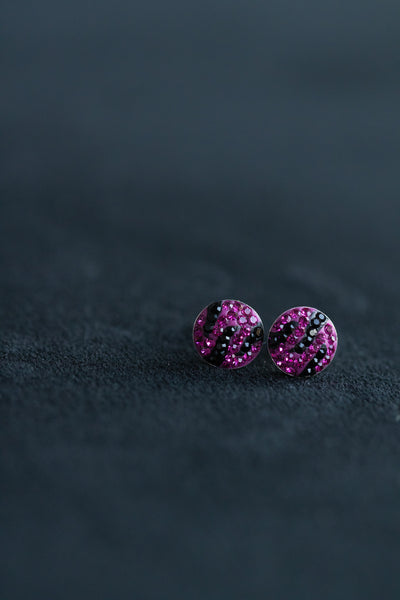 Zebra Print Round Crystal Silver Stud Earrings | Annie and Sisters