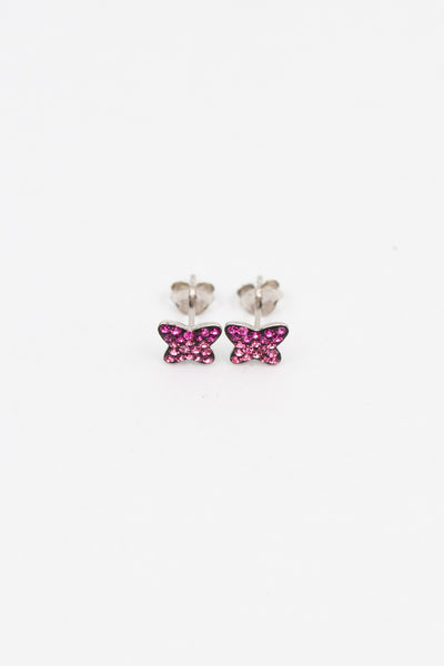 Mini Butterfly Crystal Silver Stud Earrings