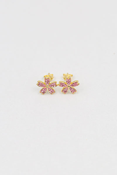 Cherry Blossom Sakura Crystal Silver Stud Earrings | Annie and Sisters