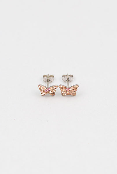 Light Rose Peach Crystal Butterfly Silver Stud Earrings | Annie and Sisters