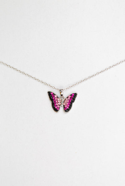 Fuschia Pink Ombre Crystal Butterfly Sterling Silver Necklace | Annie and Sisters