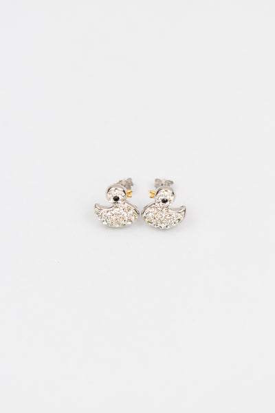 Duckie Duck Clear Crystal Silver Stud Earrings | Annie and Sisters