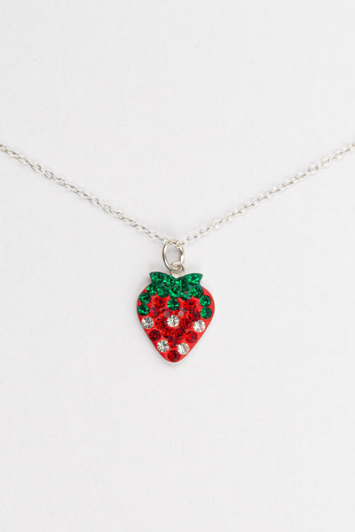 Strawberry Crystal Pave Silver Necklace | Annie and Sisters