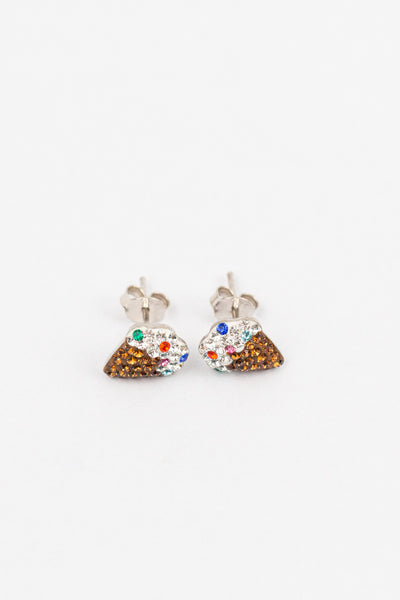 Ice cream Cone Crystal Stud Sterling Silver Earrings | sister stud earrings, for kids, children's jewelry, kid's jewelry, best friend