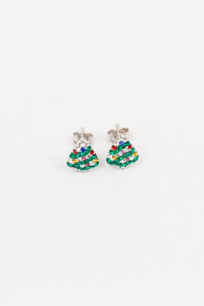 Christmas Tree Holiday Crystal Silver Stud Earrings | Annie and Sisters | sister stud earrings, for kids, children's jewelry, kids' jewelry, best friend