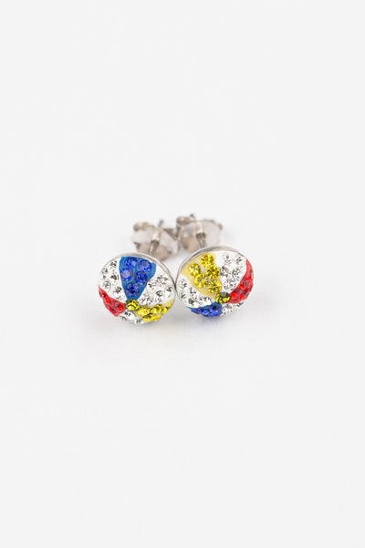 Summer Beach Ball Crystal Silver Stud Earrings | Annie and Sisters | sister stud earrings, for kids, children's jewelry, kid's jewelry, best friend