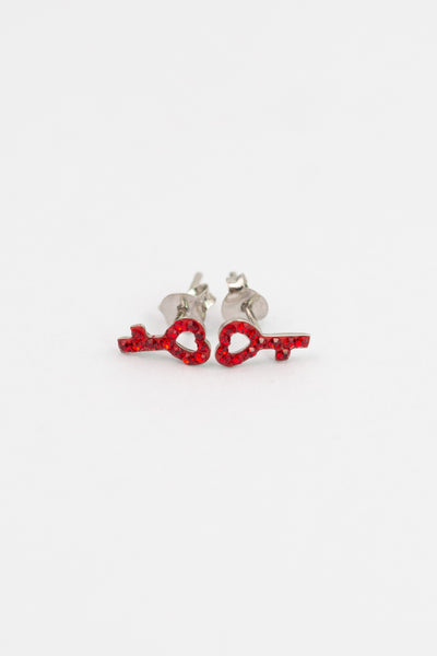 Open Heart Key Crystal Sterling Silver Stud Earrings in Siam Red | Annie and Sisters | sister stud earrings, for kids, children's jewelry, kid's jewelry, best friend