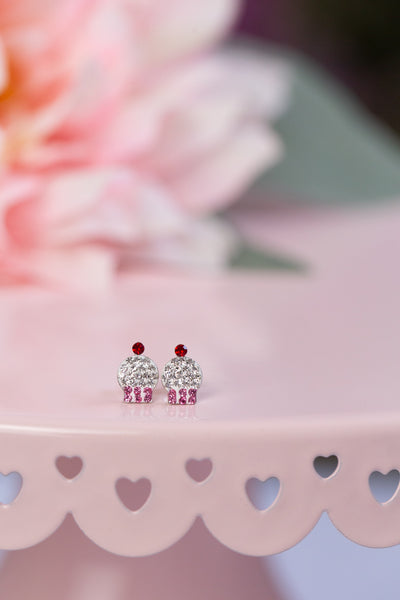 Pink Cupcake Crystal Pave Sterling Silver Earrings | Annie and Sisters | sister stud earrings, for kids, children's jewelry, kid's jewelry, best friend