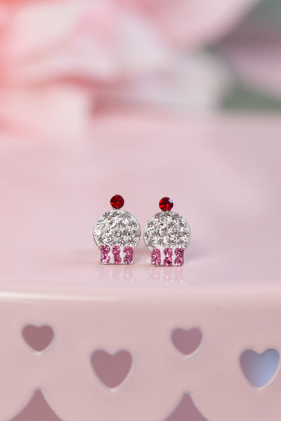Pink Cupcake Crystal Pave Silver Earrings | Annie and Sisters | sister stud earrings, for kids, children's jewelry, kid's jewelry, best friend