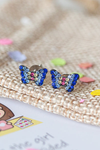 Butterfly Crystal Pave Sterling Silver Stud Earrings | Annie and Sisters | sister stud earrings, for kids, children's jewelry, kid's jewelry, best friend