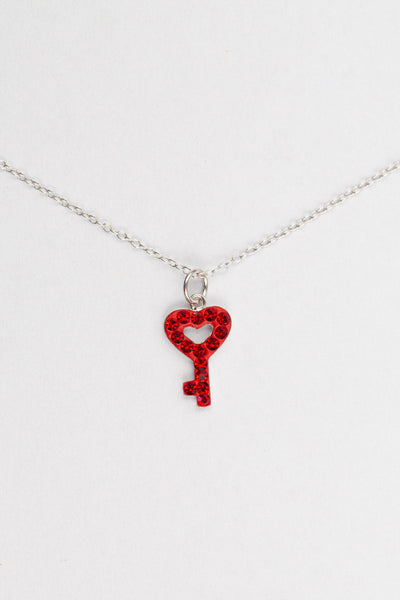 Open Heart Key Crystal Sterling Silver Necklace in Siam Red | Annie and Sisters