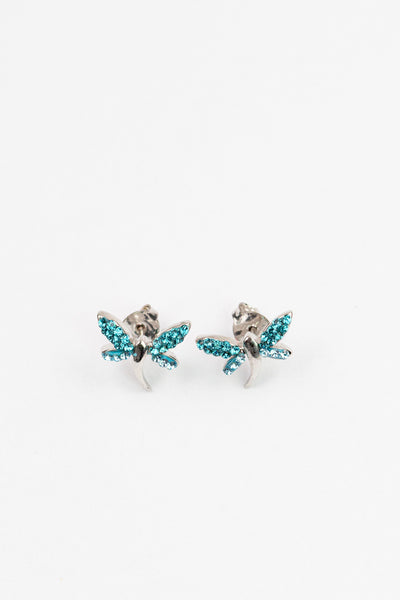 Crystal Dragonfly Silver Stud Earrings in Aquamarine| Annie and Sisters | sister stud earrings, for kids, children's jewelry, kid's jewelry, best friend