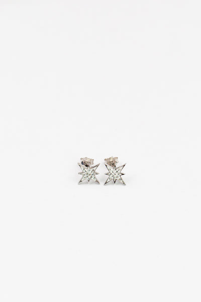 Starburst Clear Crystal Sterling Silver Stud Earrings | Annie and Sisters  | sister stud earrings, for kids, children's jewelry, kid's jewelry, best friend