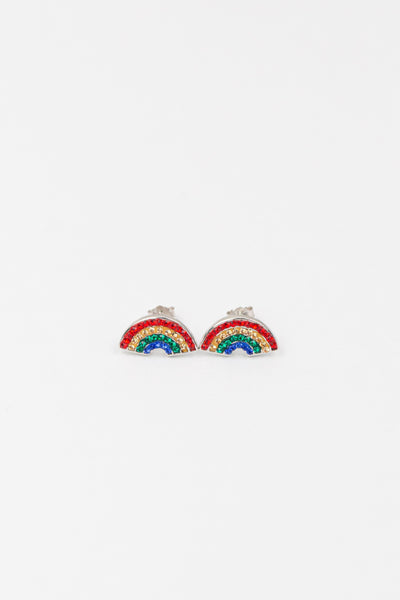 Rainbow Crystal Silver Stud Earrings | Annie and Sisters | sister stud earrings, for kids, children's jewelry, kid's jewelry, best friend