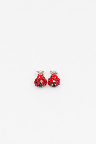 Ladybug Pave Crystal Silver Stud Earrings | Annie and Sisters | sister stud earrings, for kids, children's jewelry, kid's jewelry, best friend