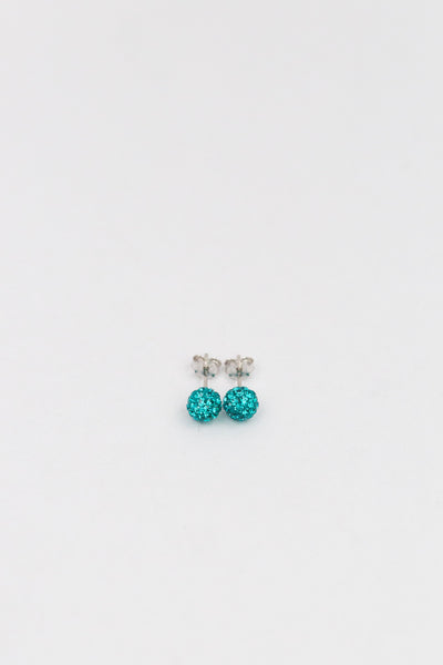 6mm Mini Disco Ball Crystal Silver Stud Earrings in Blue Zircon| Annie and Sisters | sister stud earrings, for kids, children's jewelry, kid's jewelry, best friend