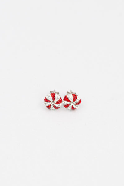 Peppermint Candy Holiday Crystal Silver Stud Earrings | Annie and Sisters | sister stud earrings, for kids, children's jewelry, kids jewelry, best friend