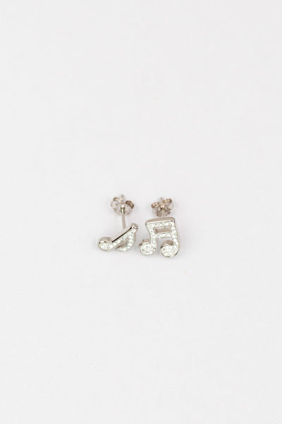 Music Notes Pave Crystal Silver Stud Earrings | Annie and Sisters | sister stud earrings, for kids, children's jewelry, kid's jewelry, best friend