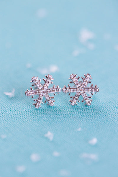 Snowflake (Sectored) Holiday Crystal Silver Stud Earrings