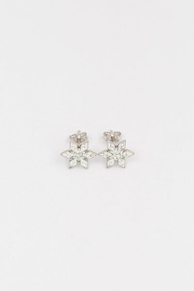 Stellar Snowflake (Stellar) Holiday Crystal Silver Stud Earrings in Crystal | Annie and Sisters | sister stud earrings, for kids, children's jewelry, kids jewelry, best friend