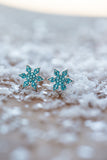 Stellar Snowflake (Stellar) Holiday Crystal Silver Stud Earrings in Indicolite | Annie and Sisters | sister stud earrings, for kids, children's jewelry, kids jewelry, best friend