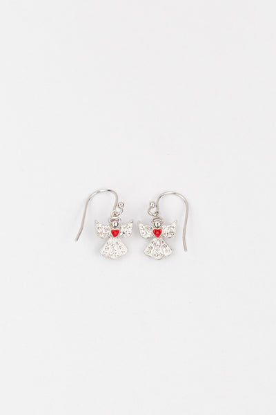 Clear Crystal Angel With Red Heart Silver Earrings