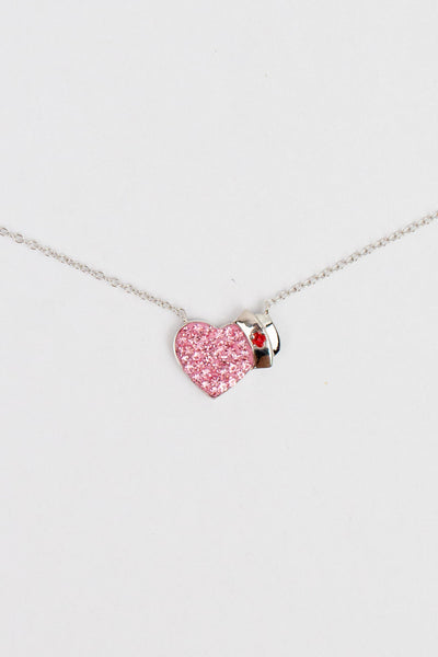 """I Heart Nurse"" Heart Crystal Silver Pendant Necklace"