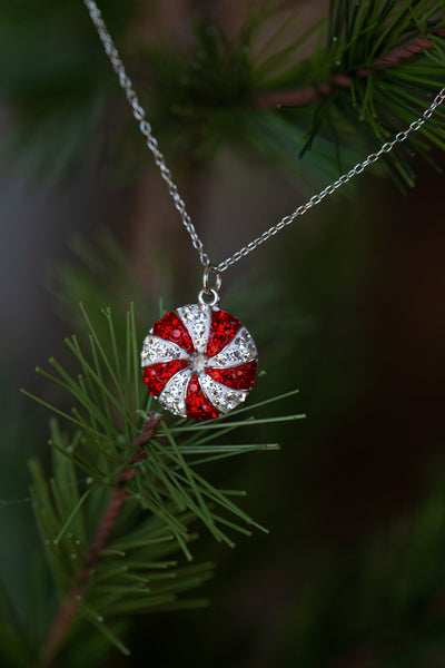 Peppermint Candy Holiday Crystal Silver Pendant Necklace | Annie and Sisters