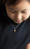 Kid's Cross Necklace Mini Swarovski Crystal Cross Necklace in Smokey Topaz | Annie and Sisters