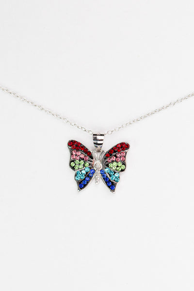 Colorful Crystal Butterfly Silver Pendant Necklace | Annie and Sisters