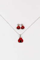 Ladybug Pave Crystal Silver Stud Earrings/Necklace Set | Annie and Sisters