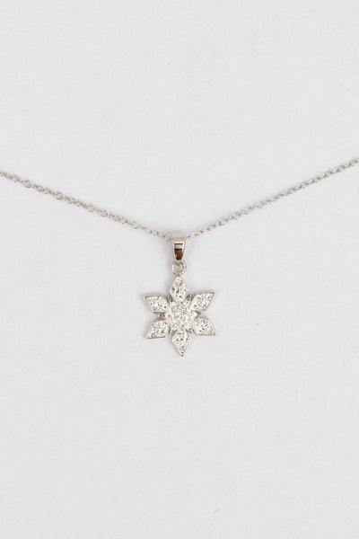 Stellar Snowflake (Stellar) Holiday Crystal Silver Pendant Necklace in Crystal | Annie and Sisters