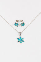 Stellar Snowflake (Stellar) Holiday Crystal Silver Pendant Necklace in Indicolite Match Set | Annie and Sisters