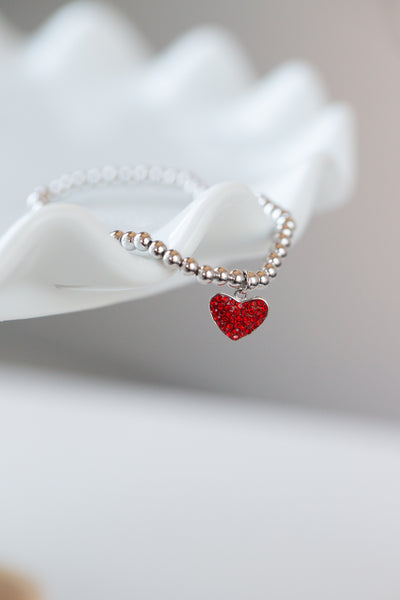 Heart Pave Crystal Beaded Kids Silver Bracelet in Siam Red | Annie and Sisters