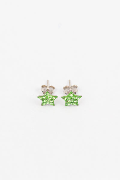 Crystal Star Pave Stud Silver Earrings in Peridot | Annie and Sisters| sister stud earrings, for kids, children's jewelry, kids jewelry, best friend