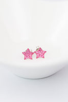 Crystal Star Pave Stud Silver Earrings in Rose Pink | Annie and Sisters | sister stud earrings, for kids, children's jewelry, kids jewelry, best friend